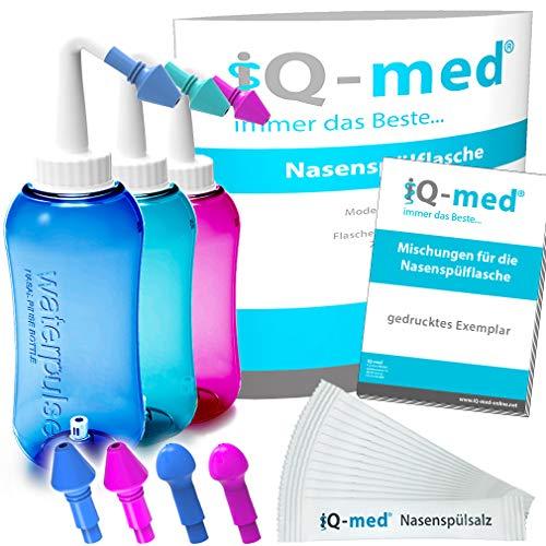 iQ-med Nasendusche 500ml + 33x Salz + Rezeptbuch + 4...