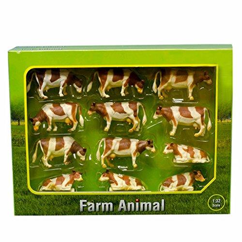 Kids Globe 571968 Kühe bunt 1:32, Kuh liegend/stehend, für Bauernhof...