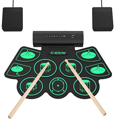 Elektronisches Schlagzeug Kit 9 Pads Tragbare Roll Up Midi Tabletop...