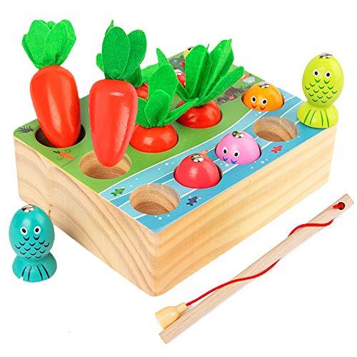 Angelspiel Holz Kinder,Montessori holzspielzeug,Karotte Spielzeug,sortierspiel Holz für Kinder,motorik...