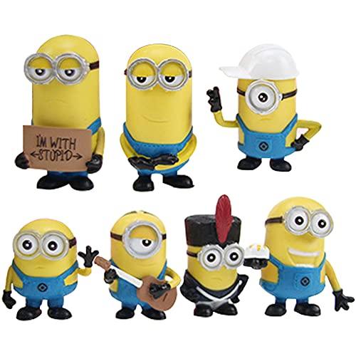 Hilloly Minions Mini Figuren Set, 7 Stück Minion Dekorationen, Cake...
