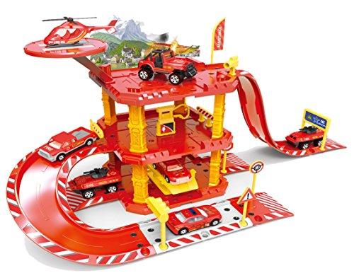 Brigamo ★ Feuerwehr Station Parkhaus Rennbahn mit Spielzeugauto und...