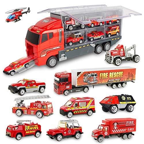 Jenilily 11 in 1 Feuerwehrauto Rettungsfahrzeug Autos Spielzeug für 3...