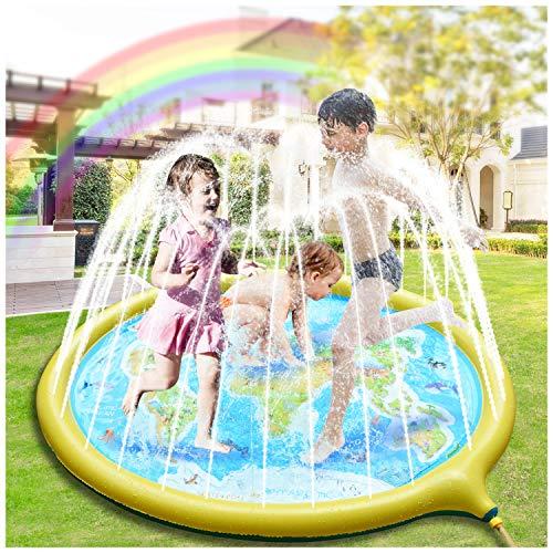 Hangrui Splash Pad, Sprinkler Wasser-Spielmatte,180cm Spielmatte Sommer Garten Wasserspielzeug Kinder Pool Pad...