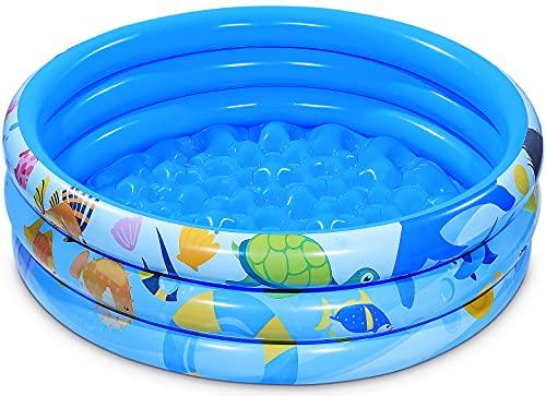 iBaseToy 120 cm x 28 cm aufblasbarer Kinderpool, 3 Ringe Kreise...