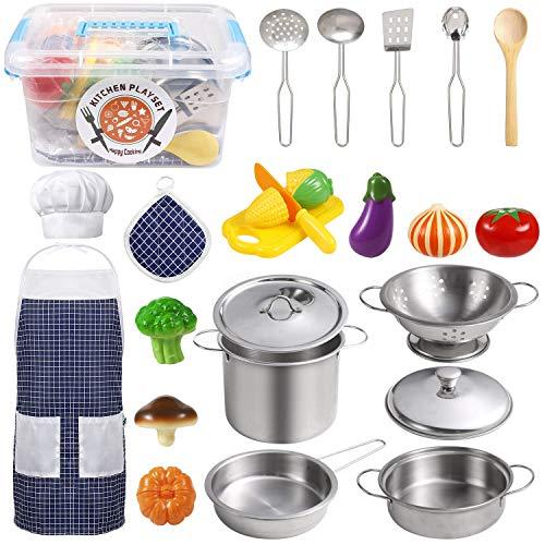 EFO SHM Küchenspielzeug Zubehör Kinderküche Kochgeschirr Edelstahl Pfannenset Schürze und Kochmütze für...