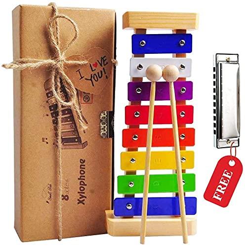 Holz Xylophon für Kinder - mit Mundharmonika und Lieder Buch: Perfekt...