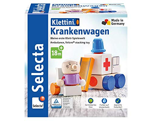Selecta 62081 Krankenwagen, Flieger, Klett-Stapelspielzeug aus Holz, 7...
