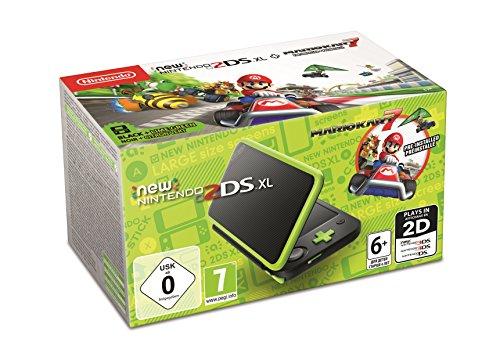 New Nintendo 2DS XL Schwarz + Apfelgrün inkl. Mario Kart 7