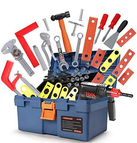 GeyiieTOYS Werkzeugkoffer Spielzeug 31 in 1 Set Werkzeug Kinder...