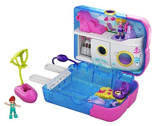 Polly Pocket GKJ49 - Kreuzfahrt Abenteuer Schatulle mit 2 kleinen Puppen und Zubehör, Spielzeug ab 4 Jahren