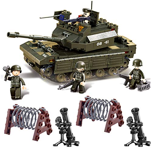 OviTop WW2 Panzer Tank Kettenfahrzeug Panzerkampfwagen Bausteine Modell mit Minisoldat und Waffen,...