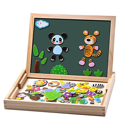 Uping Puzzles aus Holz, magnetisch, 100 Teile, doppelseitig, magnetisch, Zeichenbrett mit bunten Stiften und...