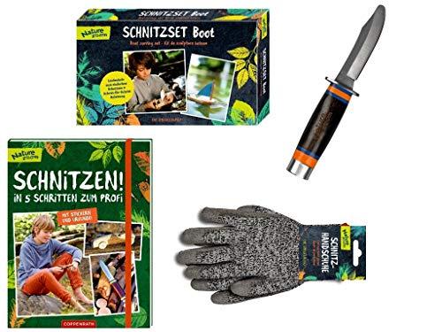 Nature Zoom Die Spiegelburg 4-teiliges Schnitz-Set 13885 10949 13936 62459 Schnitzset Boot + Schnitzmesser +...