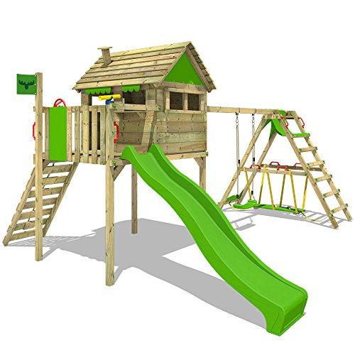 FATMOOSE Spielhaus auf Stelzen FunFactory Fit XXL Spielturm Klettergerüst Kletterturm mit Surfanbau, Veranda,...