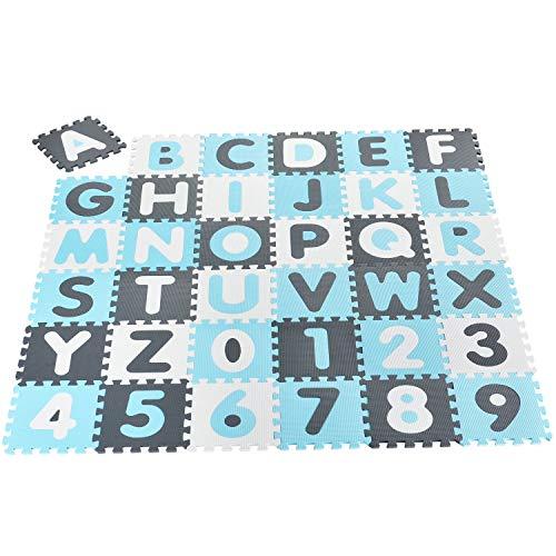 Juskys Kinder Puzzlematte Noah 36 Teile mit Buchstaben...