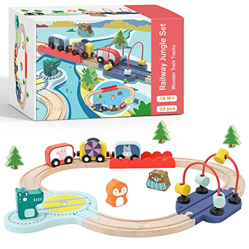 Tiny Land Holzzugset Lernen sensorisch Feinmotorik Spielzeug für...
