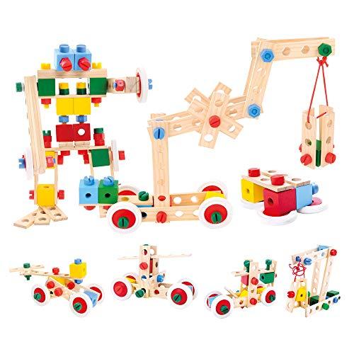 Bino Holz-Baukasten im Eimer, Spielzeug für Kinder ab...