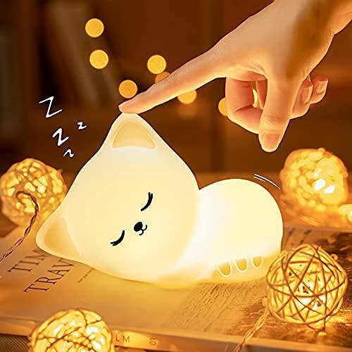 Kawaii Katze Nachtlicht Kinder, LED Nachtlicht Baby,Stilllicht...