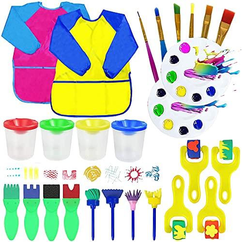 26Kinder Schwamm Farbe Pinsel Kits,Malerei Pinsel Tool Kit mit...
