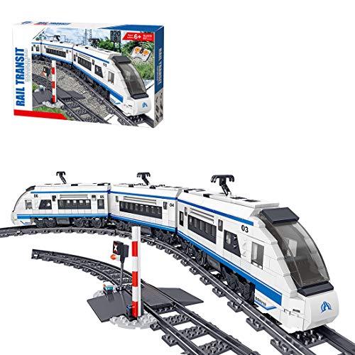 Oeasy Hochgeschwindigkeitszug mit Schienen Baustein Bausatz, 941 Klemmbausteine City Zug mit Motor,...