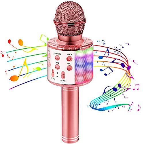 Mikrofon für Kinder, Kindermikrofon zum Singen mit LED-Lichtern,...