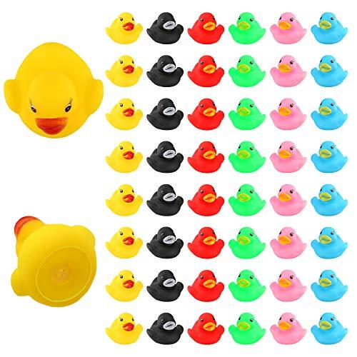 LUTER 48 Stück Badeente Gummi Ducky Badespielzeug für Kinder, Float und Squeak Mini Kleine Bunte Enten...