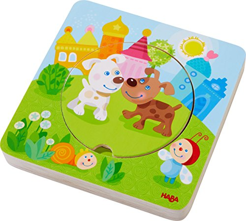 HABA 303536 - Holzpuzzle Kunterbunte Tierkinder | Puzzlespaß in 5...