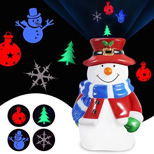 KNMY Schneemann Licht Projektor Lampe, Baby Nachtlicht Stimmungslicht 360° Rotation Weihnachtsmuster,...