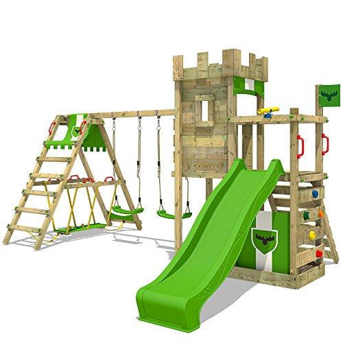 FATMOOSE Spielturm Klettergerüst BoldBaron Boost XXL Spielplatz Ritterburg mit Surfanbau und Doppelschaukel,...