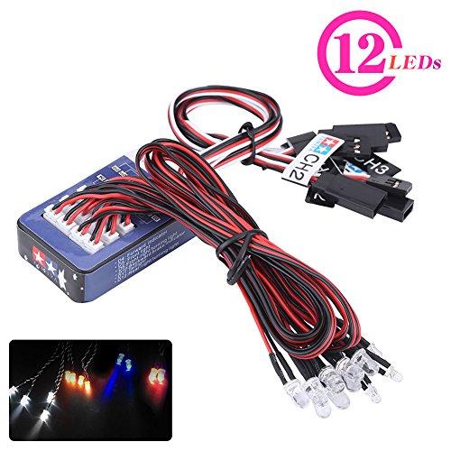 Dilwe 12-LED RC Auto Licht Kit, Beleuchtung System Kit Simulation Blinklichter Kompatibel mit Tamiya für 1/10...