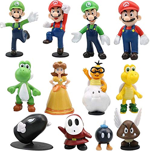 Gxhong 12 Stück Super Mario-Figuren Modell, Mario Bros Actionfiguren,...