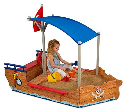 KidKraft 128 Piratenschiff-Sandkasten aus Holz, Garten-Sandkasten für...