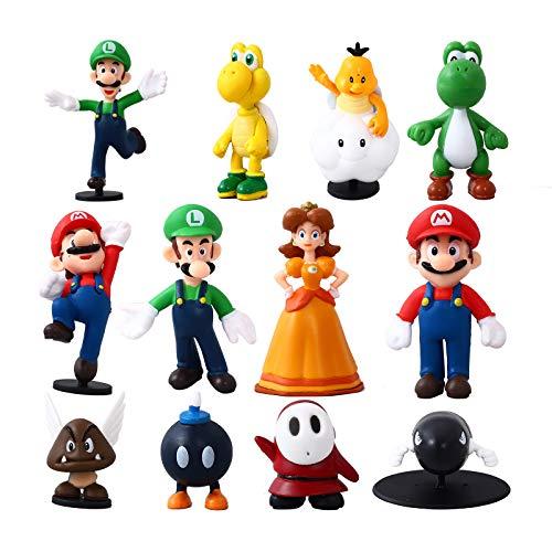 Herefun 12 Stück/Set Modell Spielzeug - Luigi Peach, Spielzeug...