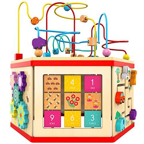 TOP BRIGHT Motorikwürfel aus Holz groß,7-in-1 Spielecenter Baby Spielzeug ab 12 Monate,Lernspielzeug für...