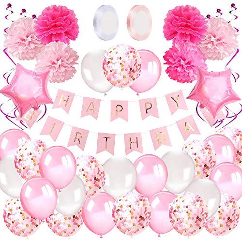 Geburtstagsdeko Mädchen Happy Birthday Girlande Ballons Geburtstag...