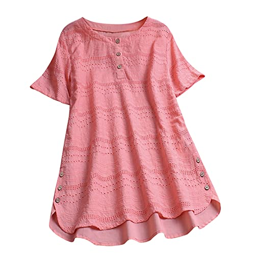 Yowablo Blusen Damen Einfarbig Ausgehöhlter Knopf Rundkragen T-Shirt...