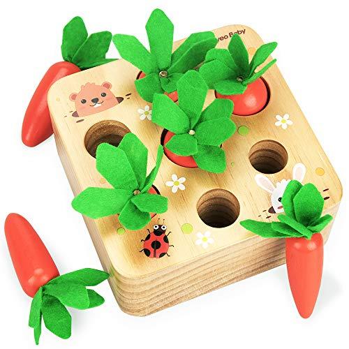 Montessori Baby Lernspielzeug, 1 Jahr Alte Kinder Vorschule Lernspielzeug Karottenspielzeug Aus Holz für 2 3...