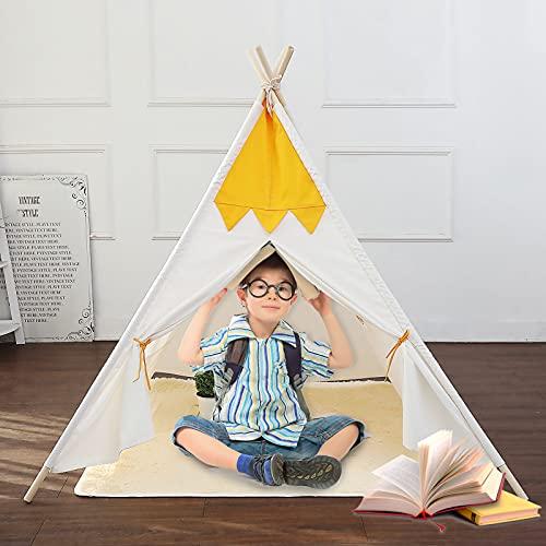 Tipi Zelt für Kinder Indoor & Outdoor mit Bodenmatte&Fenster...