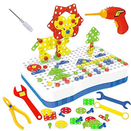 CENOVE Mosaik Steckspiel Schraube Spielzeug - 3D Puzzle Pädagogisches Spielzeuge mit Elektronischem Bohrer...