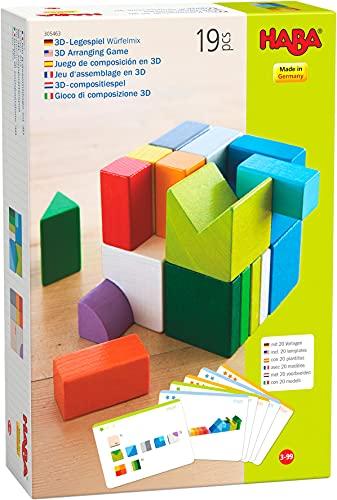 HABA 305463 - 3D-Legespiel Würfelmix, Holzspielzeug zum Legen und...