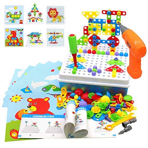 Akokie Steckspiel Montessori Spielzeug mit Bohrmaschine Pädagogisch Kreativ Spielzeug 3D Puzzle Mosaik Spiel...