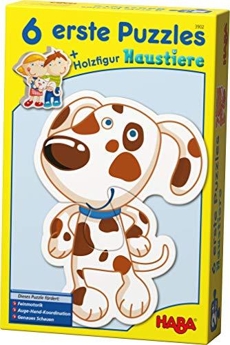 Haba 3902 - 6 Erste Puzzles, Haustiere, Puzzle mit 6 niedlichen Tiermotiven für Kinder ab 2 Jahren, mit...