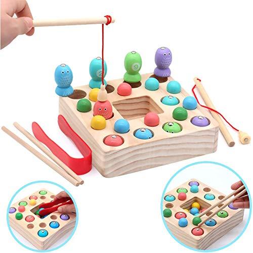 Symiu Holzspielzeug Angelspiel Montessori Lernspielzeug Magnettafel Kinderspielzeug Geschenk ab Kinder...