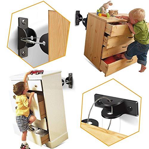 [6 Stück] SYOSIN Baby Möbel Kippsicherung für Regale Kommoden und Schränke, Kindersicherheit Anti Tip...