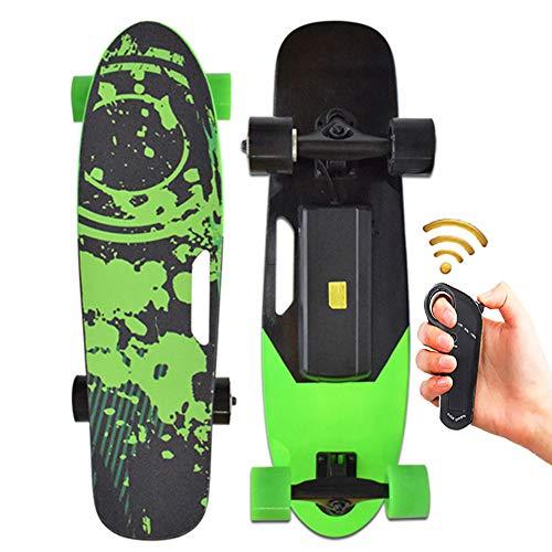 XSGDMN Elektro-Skateboard Mini elektrische Longboard mit Fernbedienung, 350W, Max 15 km/h Maple E-Skateboard,...