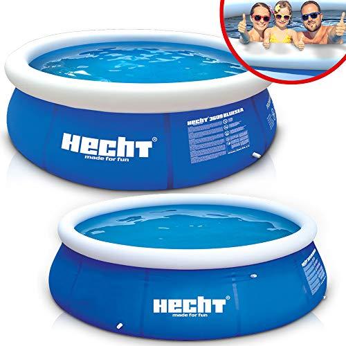 Großer HECHT Quick Up Pool Familienpool – 360 x 90 cm und 300 x 76 cm zur Auswahl – Aufblasbarer Luftring...