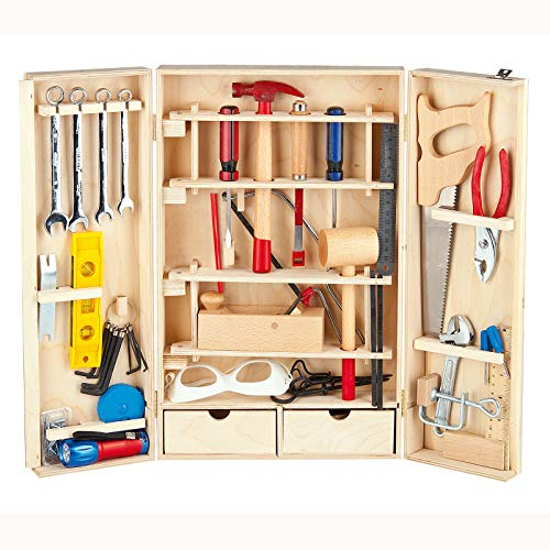 Leomark Deluxe Werkzeug für Kinder 50-TLG, Holz Werkyeugkasten, Kompakter Werkzeugkoffer Holzschrank mit...