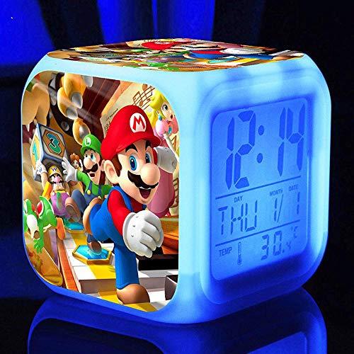Super Mario Bros Wecker Bild Anpassen Wecklicht USB Kinder LED Uhr...