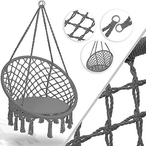 KESSER® Hängesessel 150kg mit 2 Stahlringe Sitzpolster geflochten...